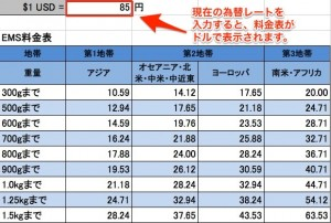 EMS料金表 (ドル表示・為替レート変更対応可)